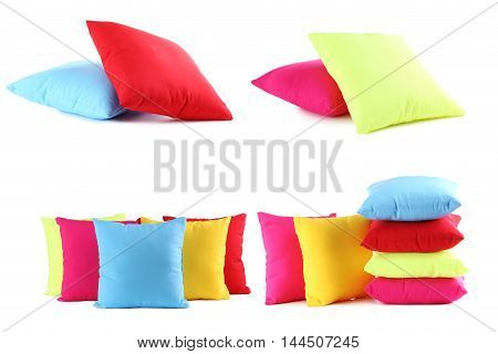 Colorful pillows isolated on a white background