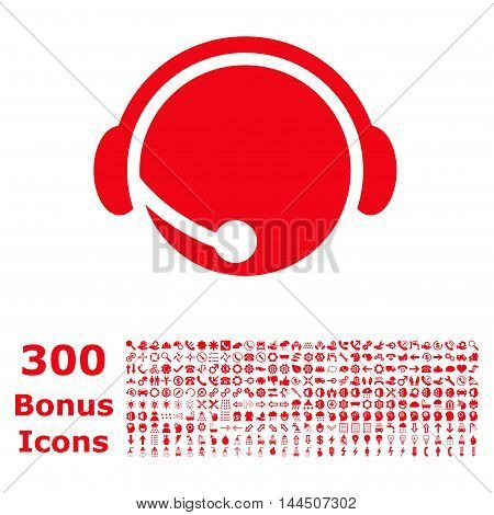 Call Center Operator icon with 300 bonus icons. Vector illustration style is flat iconic symbols, red color, white background.