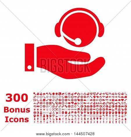 Call Center Service icon with 300 bonus icons. Vector illustration style is flat iconic symbols, red color, white background.