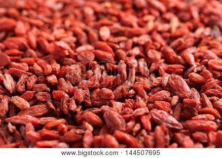 The dry goji berries background, close up