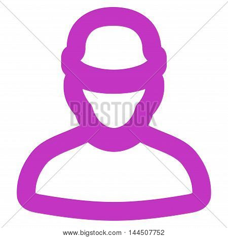 Builder vector icon. Style is linear flat icon symbol, violet color, white background.
