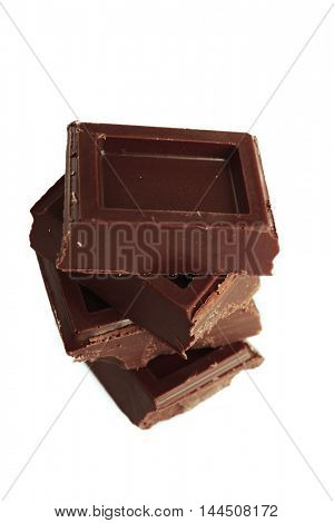 Chocolate pieces, isolated on white