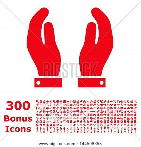 Care Hands icon with 300 bonus icons. Vector illustration style is flat iconic symbols, red color, white background.