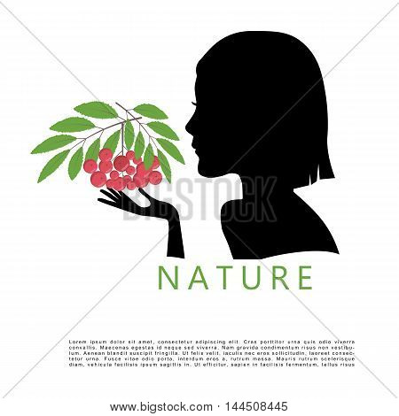 silhouette of a young cute girl with mountain ash in her hand
