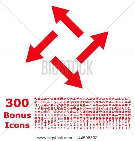 Centrifugal Arrows icon with 300 bonus icons. Vector illustration style is flat iconic symbols, red color, white background.