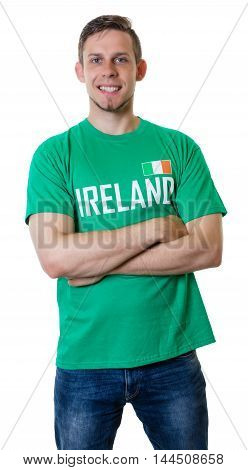 Laughing sports fan from Ireland on an isolated white background for cut out