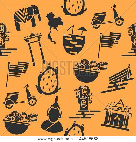 Thailand color collage. Set Thai color vector icons and symbols, vector illustration