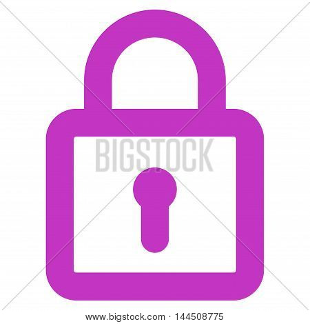 Lock vector icon. Style is stroke flat icon symbol, violet color, white background.