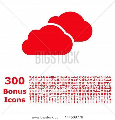 Clouds icon with 300 bonus icons. Vector illustration style is flat iconic symbols, red color, white background.