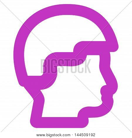 Sergeant Head vector icon. Style is outline flat icon symbol, violet color, white background.