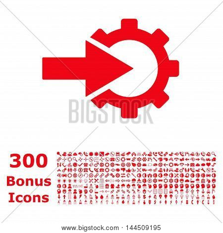 Cog Integration icon with 300 bonus icons. Vector illustration style is flat iconic symbols, red color, white background.