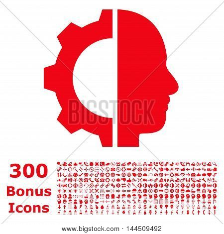 Cyborg Gear icon with 300 bonus icons. Vector illustration style is flat iconic symbols, red color, white background.