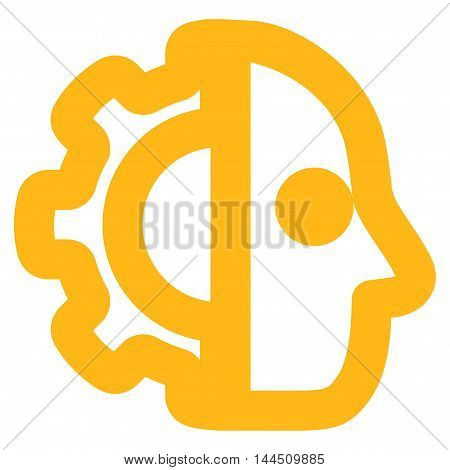 Cyborg vector icon. Style is contour flat icon symbol, yellow color, white background.
