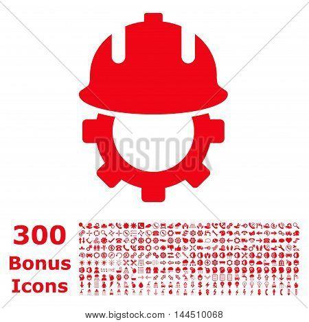 Development Helmet icon with 300 bonus icons. Vector illustration style is flat iconic symbols, red color, white background.
