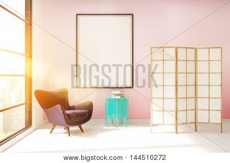 Sunlit Dressing Room With Pink Wall