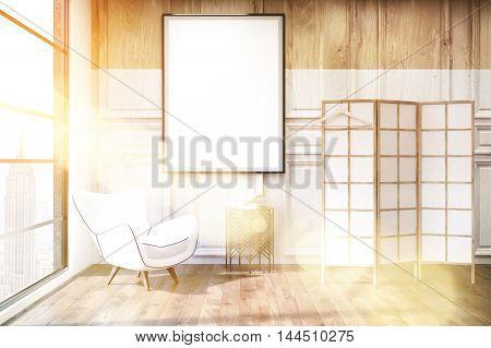 Interior of dressing room lit with bright sunlight with white and black armchair vertical poster and screen. Concept of modern flat in New York. 3d rendering mock up toned image