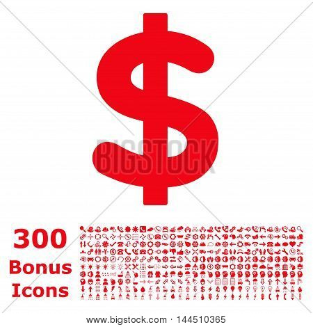 Dollar icon with 300 bonus icons. Vector illustration style is flat iconic symbols, red color, white background.