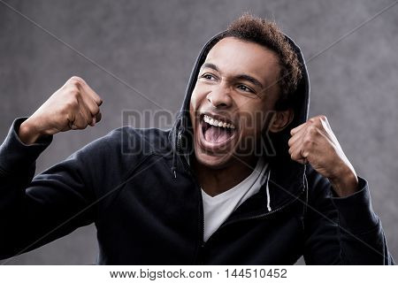 Screaming With Joy African American Man Portrait