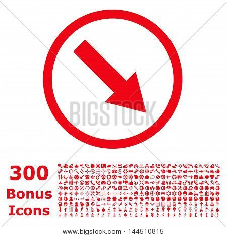 Down-Right Rounded Arrow icon with 300 bonus icons. Vector illustration style is flat iconic symbols, red color, white background.