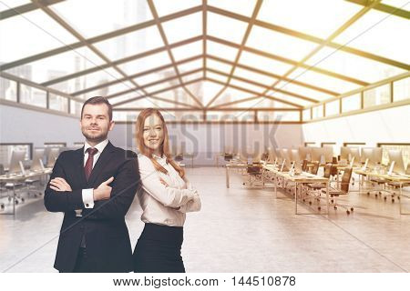 Business partners in attic office with rows of computer tables. Concept of successful business. 3d rendering. Mock up. Toned image