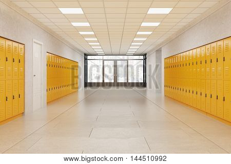 School lobby with bright yellow lockers. Fitness Gym. Concept of middle school. 3d rendering