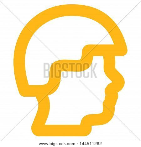 Soldier Head vector icon. Style is stroke flat icon symbol, yellow color, white background.