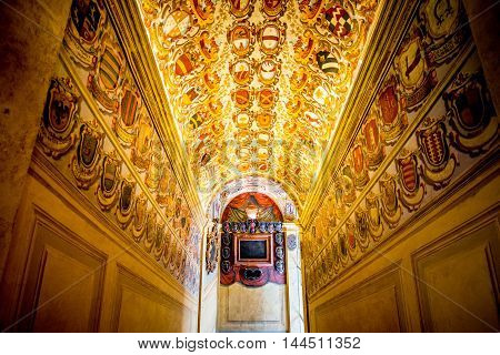 Bologna, Italy - May 23, 2016: Decorations on the vault in Archiginnasio library of Bologna. It is one of the most important building in Bologna.