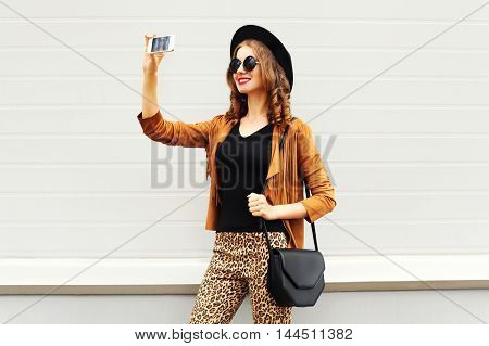 Fashion Happy Young Smiling Woman Taking Photo Picture Self-portrait On Smartphone Wearing Retro Ele