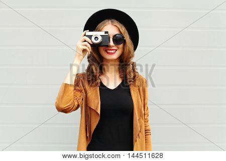 Fashion Look, Pretty Cool Young Woman Model With Retro Film Camera Wearing A Elegant Hat, Brown Jack