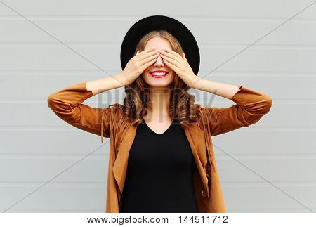 Fashion Pretty Cool Young Woman Closes Eyes Cute Smiling Wearing A Vintage Elegant Hat Brown Jacket