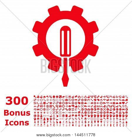 Engineering icon with 300 bonus icons. Vector illustration style is flat iconic symbols, red color, white background.