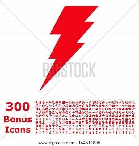 Execute icon with 300 bonus icons. Vector illustration style is flat iconic symbols, red color, white background.