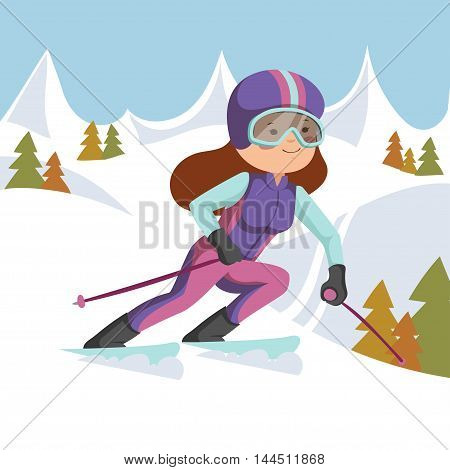 Girl riding on skis in the mountains. Background mountains and forest.