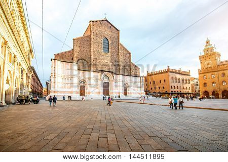 Bologna, Italy - May 23, 2016: View on San Petronio church on the main square in Bologna city. It is the largest church built in bricks in the world.