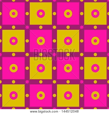 Seamless checkered pattern with polka dots and circles in purple pink and yellow. Carnival seamless background. Great for cover design wrapping paper home textile apparel fabric pattern. Vector.