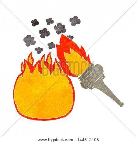 freehand retro cartoon flaming torch