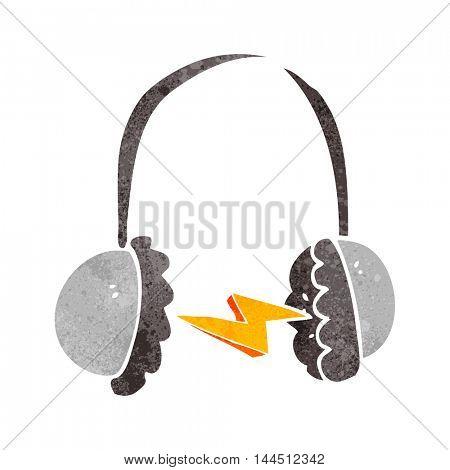 freehand retro cartoon headphones