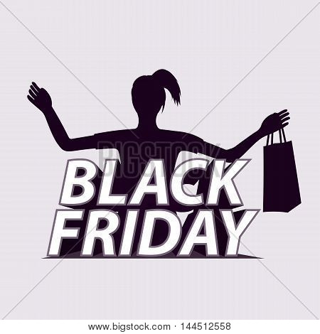 Black friday. Sale banner. Elegant shopping woman. А girl with a package. Poster Sale. Vector illustration