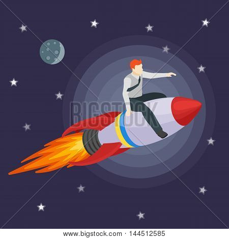 A man flying on a rocket and shows forward. Trendy flat design, businessman riding on a rocket, business concept of moving forward for success