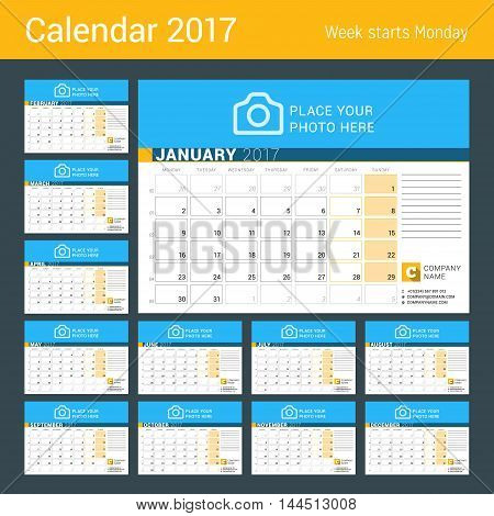 Desk Calendar For 2017 Year. Set Of 12 Months. Vector Design Print Template With Place For Photo, Lo