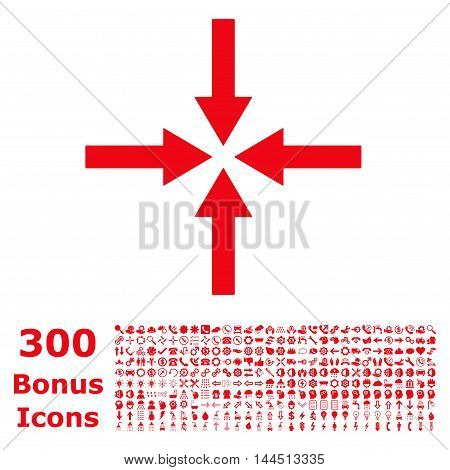 Impact Arrows icon with 300 bonus icons. Vector illustration style is flat iconic symbols, red color, white background.