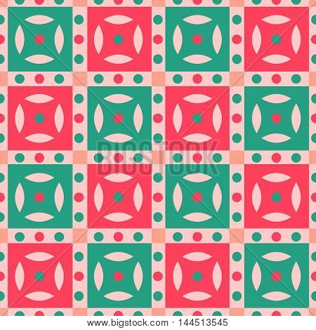 Seamless checkered pattern with polka dots in coral green and red. Festival seamless background. Great for cover design wrapping paper home textile apparel fabric pattern. Vector image.
