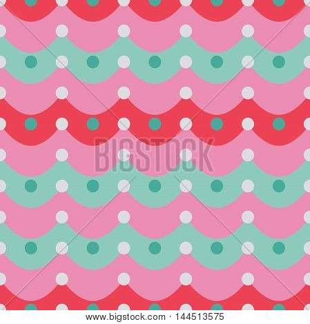 Striped seamless pattern with dots. Festive seamless background in sachet pink, rose, purple and eggshell blue colors. Chevron pattern for  wrapping paper, cover design, fabric print  in vector