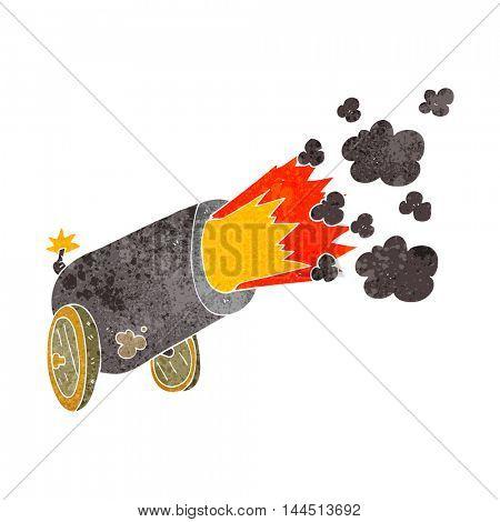 freehand retro cartoon big cannon firing