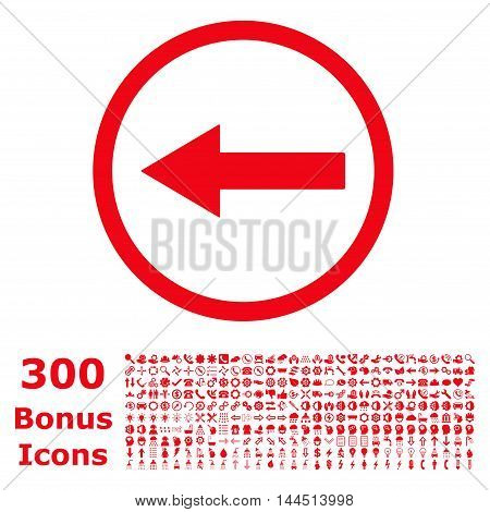 Left Rounded Arrow icon with 300 bonus icons. Vector illustration style is flat iconic symbols, red color, white background.