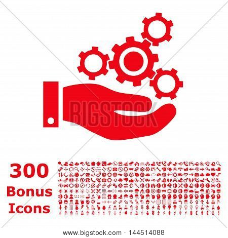 Mechanics Service icon with 300 bonus icons. Vector illustration style is flat iconic symbols, red color, white background.