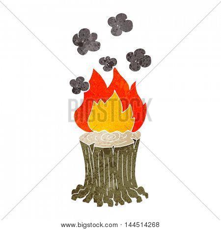 freehand retro cartoon burning tree stump