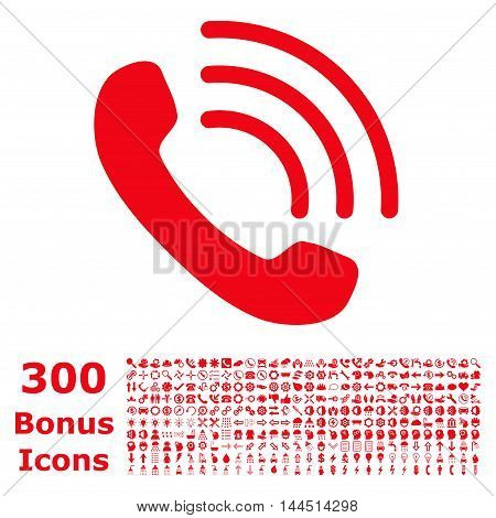 Phone Call icon with 300 bonus icons. Vector illustration style is flat iconic symbols, red color, white background.