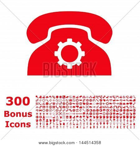 Phone Settings icon with 300 bonus icons. Vector illustration style is flat iconic symbols, red color, white background.