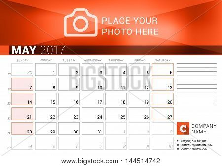 Desk Calendar For 2017 Year. May. Vector Design Print Template. Week Starts Sunday